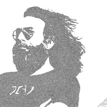 Jerry Garcia Lyric Poster Print - 24x36 - Handmade with Lyrics - Black and White - Grateful Dead -Egypt - Cairo - Pyramid of Giza - Deadhead