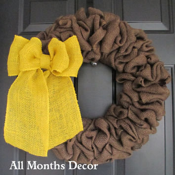 Brown Burlap Wreath with Yellow Burlap Bow, Country, Rustic, Door Porch, Spring Easter Fall Winter, Holiday, Year Round
