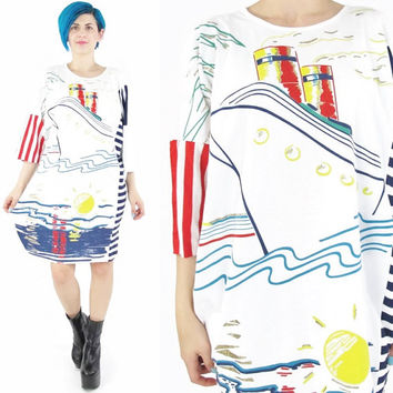 80s Cruise Ship Tshirt Dress Summer Nautical Print Striped Tshirt Dress Red White Blue Painted Oversize Hipster Beach Coverup (M/L/XL)