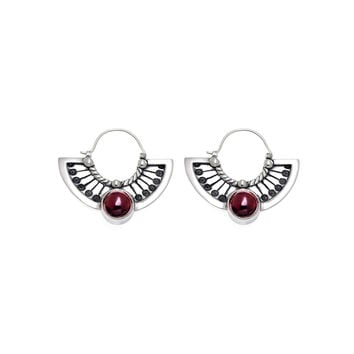 Kamon Sterling Silver And Garnet Fan Drop Earring