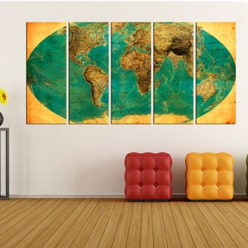 unique world map canvas print wall art, extra large wall art, 1938 old world map canvas, world map canvas print rustic No:4S94