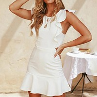 White Ruffles Sexy Dresses Women Hollow Out Butterfly Sleeve Beach Sundress Ruffles Party Wrap Dress