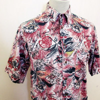 Vintage 90's Red Crayon Pattern Scriped Roses Shirt M