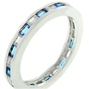Chela Sapphire Baguette Eternity Stackable Wedding Ring | 2ct | Cubic Zirconia