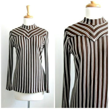 Mod 60s Shirt / chevron shirt / 1960s brown shirt / western shirt /  two tone top  / fitted shirt / H Bar C / 60s blouse / small med