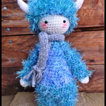 Handmade Crochet Amigurumi Ludo Little Monster Doll - cute Gift idea - 11.5 inches tall **One of a kind**