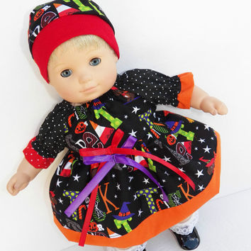 "American Girl Bitty Baby Clothes 15"" Doll Clothes Black Orange Red Purple Halloween Print Dress and Hat"