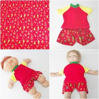 "Cabbage Patch Clothes 14 inch doll / 15"" Bitty Baby HANDMADE Red Christmas Short"