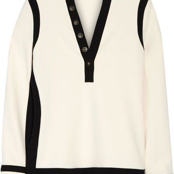 ONETOW balenciaga embellished two tone stretch crepe top 2
