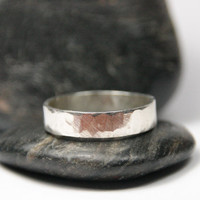 Hammered Silver Men's Ring - Simple Band for Him - Wedding Ring
