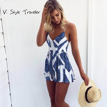 Casual Print Camis Playsuit Deep Cut V Neck Sexy Bodysuit Women Shorts Boho Jumpsuit vestido Summer Style Beach Resort Romper