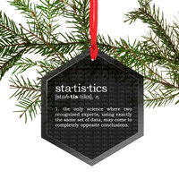 Statistics Definition Funny Glass Christmas Ornament