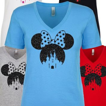 Womens v neck Minnie Mouse Shirt Minnie Mouse glitter Top Inspired by Disney Minnie Bow T shirt, Disney world Tee shirt, women's disney tee