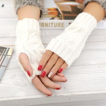 Liva Girl Fashion Winter Stylish hand warmer  Arm Crochet Knitting faux Wool Mitten warm Fingerless Gloves 5 pairs/pack