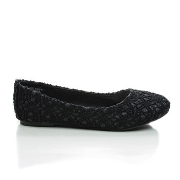 ScolyIIS Black Lace By Happy Soda, Lace Children / Girl Lace Glitter Ballet Slip On Dress Flats