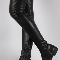 Bamboo Vegan Leather Flat Thigh High Boots