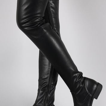 Black Thigh High Flat Boots - Cr Boot