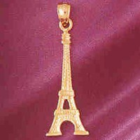 Gold charms- 14K GOLD EIFFEL TOWER CHARM/PENDANT # 4913