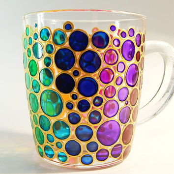 Hand painted Bubbles Mug Cup colorful mug Mosaic Cup Coloured Bubbles Mug bubbles mug bright mug multi colored mug
