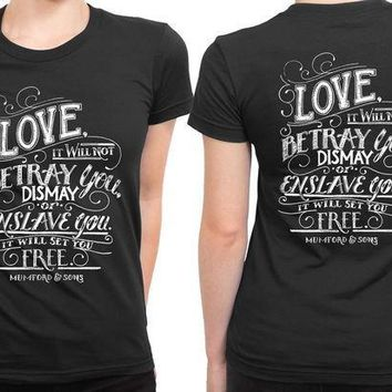 ESBH9S Mumford And Sons Quote Love It Will Not Betray You Dismay 2 Sided Womens T Shirt