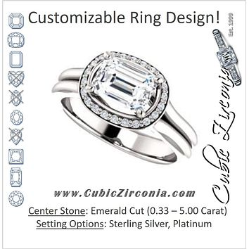 Cubic Zirconia Engagement Ring- The Elaine Li (Customizable Emerald Cut Style with Halo, Wide Split Band and Euro Shank)