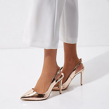 Gold wide fit metallic slingback pumps - Shoes - Shoes & Boots - women