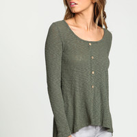 Olive Buttoned Ribbed Knit Top