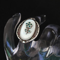 Vintage Sterling Silver Native American Zuni Ring Flower Mother of Pearl & Turquoise Inlay Signed Charlotte Size 4