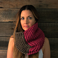 Cowl-color block-unisex-infinity scarf Taupe and Berry
