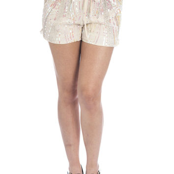 Cream Sequin Skinny Shorts