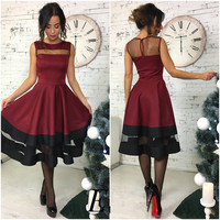 Stylish Sexy See Through Patchwork Shaped Sleeveless One Piece Dress [9688307151]