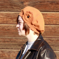 Cotton Angora Cashmere Blend Hat in Rust Orange - Upcycle