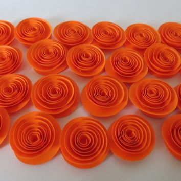Set of 24 Bright Orange Paper Flowers, Small Neon Rosettes Botanical Decorations Tea Party Roses Birthday Shower Decor Event Supplies 1.5""