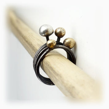 "RING ""Galaxy /  MARS"" in Sterling Silver and Gold metal. Modern, Minimalistic. Hammered, Forged, Stackable."
