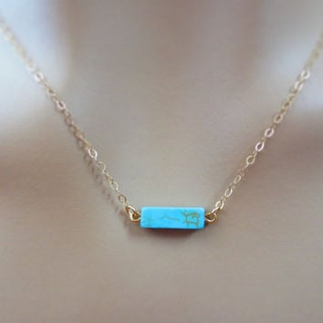 Turquoise bar necklace, modern simple turquoise color necklace, goldfilled necklace, turquoise stone necklace, bar jewelry, gift necklace