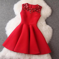 Winter Dress Red Sleeveless Sequined Mini Dresses Black Princess Office Casual Women Dress