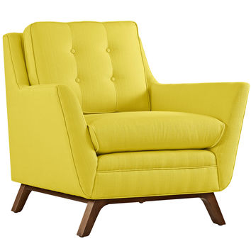 Modway Beguile Fabric Armchair in Tufted Sunny W/ Walnut Finished Legs