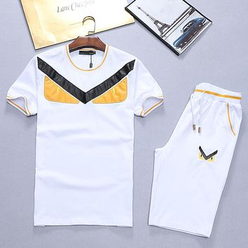 Boys & Men Fendi Fashion Casual Shirt Top Tee Shorts Set Two-Piece