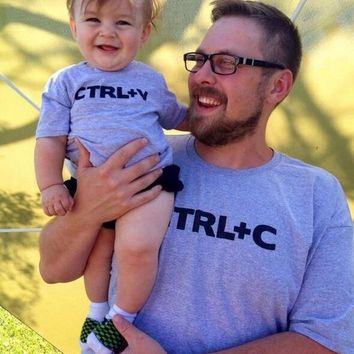 Family Matching Outfits Cute Print Ctrl C + Ctrl V Father Son t shirt Family Apparel Fashion Baby T Shirts Cotton Men Tops Tee