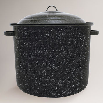Black Graniteware 34 Qt Stock Pot - World Market