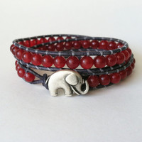 Elephant Leather Wrap Bracelet, Good Luck Charm, Red Jade Wrap Bracelet, Chan Luu Style, Roll Tide, Bama