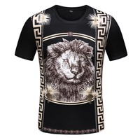 Trendy fashion personality retro trend 3D printing round neck short-sleeved T-shirt
