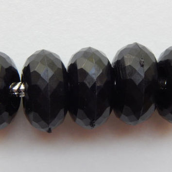 ON SALE 25 Pieces of Large Hole Acrylic Beads - 14mm Round Shape, European Style, Dark Black Color, Faceted Finish, Rondelle, 5.5mm Hole Siz