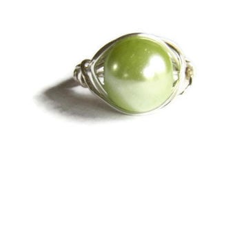 Mint green silver wire wrapped cocktail ring Boho chic beach