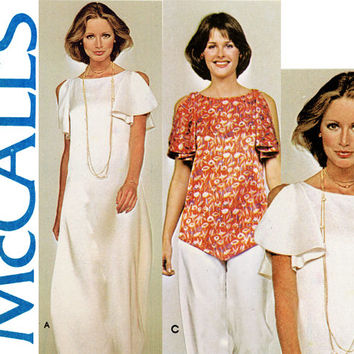 1970s Dress Pattern Bust 40 Uncut McCalls 5346 Evening Dress Tunic Pants Flared Slit Sleeves Handkerchief Hem Womens Vintage Sewing Patterns