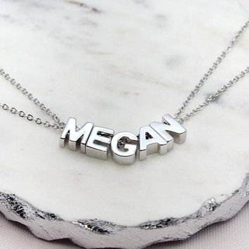 Silver Capital Letter Name Choker
