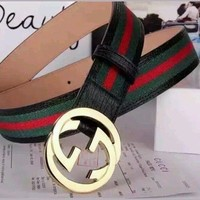 new Gucci Men's White,Black Red, Green Leather, Web Strip Belt Interlocking Logo