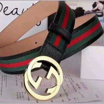 NWT Gucci Men's White,Black Red, Green Leather, Web Strip Belt Interlocking Logo