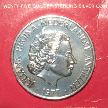 1977 Netherlands Antilles 25 Guilder Coin, Sterling Silver Juliana Regina, Collectible Coin, Uncirculated Coin, Low Mintage Rare Silver Coin
