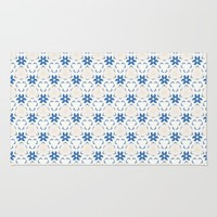 Acrylic Blue Floral Triangles Rug by Doucette Designs